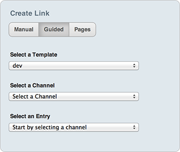 Create link guided options
