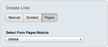 Create link with Pages Module options