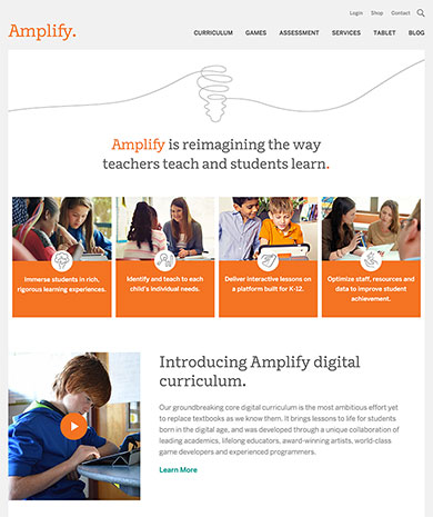 Amplify's home page